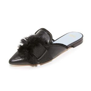 Frances Valentine Paulette Fur Mules Black Size 6